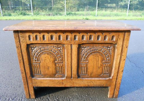Carved Oak Reproduction Blanket Chest in Antique Tudor Style